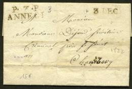 HAUTE SAVOIE : Pli De ANNECY De 1822 En Port Payé Avec MPL  P.  .P /ANNECI + 3 DEC P CHAMBERY - 1801-1848: Precursors XIX
