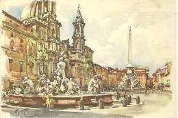 LAZIO - ROMA  - Piazza Navona - Acquerello Di Aldo Raimondi - Vatikanstadt