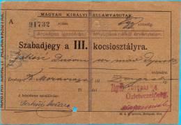 Austroungarn.1st WW.Croatia.Maguar Kiralyi Allamvasutak.Moravica-Zagrab.Railway Ticket.1915. - Europe