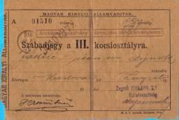 Austroungarn.1st WW.Croatia.Maguar Kiralyi Allamvasutak.Moravica-Zagrab.Railway Ticket.1916. - Europe