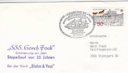 """Marine Schiffspost SSS """"Gorch Fock"""", Stapellauf Vor 25 Jahren, PostSoStempel: Hamburg Brmk-Ausst. 25.9.1983 - Maritime"""