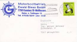 Bodenseeschiffspost  Motorbootbetrieb Ewald Giess, Stempel: Meersburg 21.8.1985, Autofähre - Schiffahrt
