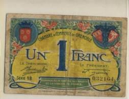 BILLET ECHANGE CHAMBRE DE COMMERCE GRENOBLE  # 1 FRANC # 1922 #SERIE 18 #BAYARD LESDIGUIERE # - Chamber Of Commerce