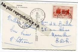 -- Timbre Seul 10 F Sur CP, 1956, Cachet De Dakar Etoile, à Destination De Marseille, TBT, Scans.