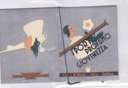 """CARD  CALENDARIETTO PROFUMATO """"VIOLETTA DI PARMA""""  BORSARI PARMA   SPORT PROFUMO DI GIOV  1935      --2---0882-14978-977 - Calendars"""