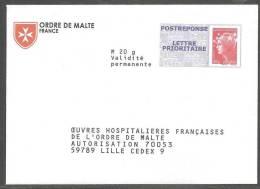 PAP REPONSE BEAUJARD  ___ ORDRE DE MALTE  N°11P565 - Entiers Postaux