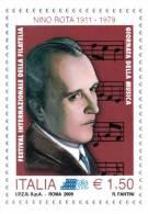 """[DC1283] CARTOLINEA - GIORNATA DELLA MUSICA """"NINO ROTA"""" 1911-1979 - RIPRODUZIONE DEL FRANCOBOLLO EMESSO (3 DI 3) - Eventos"""