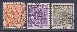 Denmark, Scott #J30 & 32-3 Used Numeral, Postage Due, 1934 &1937 - Port Dû (Taxe)