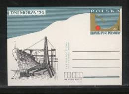POLAND PC 1974 DAYS OF THE SEA MINT GDANSK NORTH POST HARBOUR CRANES Ships - Schiffe