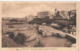 64...PYRENEES ATLANTIQUES...BIARRITZ...EGLISE ST.EUGENIE ET HOTEL D'ANGLETERRE..PECHEUR....ANIMEE... CP...NON ECRITE... - Biarritz