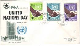 FDC Recommandée Des Timbres United Nations Day Du 24/10/1958, De Accra, Ghana Vers New York - Ghana (1957-...)