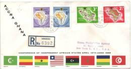 FDC Recommandée Des Timbres Conference Of Independant African States Du 15/4/1958, De Sekondi, Ghana Vers New York - Ghana (1957-...)