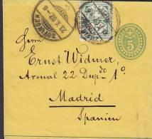 Switzerland Uprated Postal Stationery Ganzsache Entier Bande Journaux Streifband Wrapper ZOFINGEN 1902 To MADRID Spain - Interi Postali