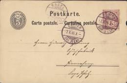 Switzerland Uprated Postal Stationery Ganzsache Entier ZÜRICH 1886 To PIRMASENS Germany (2 Scans - Entiers Postaux
