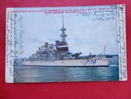 Transport > Ships > Warships -- US  Battleship  Massachusetts  1909 Cancel --- -  -ref  779 - Guerra