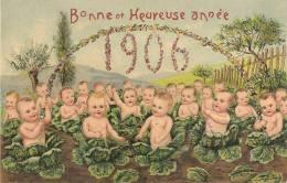 BEBES SORTANT DE CHOUX - BONNE ET HEUREUSE ANNEE 1906 - CARTE GAUFREE - Neonati