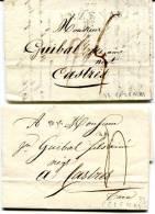 HERAULT De PEZENAS Linéaire 47x12 Sur 1 LAC De 1814+ 1 LAC De 1823 - Marcophilie (Lettres)