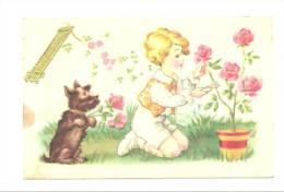 Vive Maman - Garçon Cueillant Des Roses Accompagné De Son Chien (557)b107 ! Tache Côté Gauche - Fête Des Mères