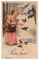 CHRISTMAS ANGEL GIRL WITH PRESENTS AND BIRDS Nr. 1023 OLD POSTCARD 1940. - Christmas