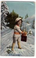 CHRISTMAS BOY WITH PRESENTS Nr. 209/III OLD POSTCARD - Christmas
