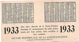 Petit Calendrier 3 Volets/Oeuvre Pontificale De La Sainte Enfance/Chine/ 1933    CAL118 - Calendars