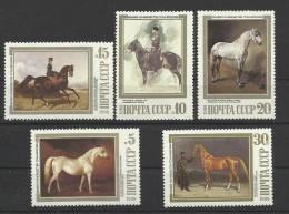 Russie Russia URSS USSR ** MNH Chevaux Horse Caballo Pferde 5536/40 Peintures Tableaux - Horses