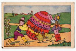 EASTER CHILDREN BIG EGG AND CHICKEN OLD POSTCARD 1942. - Easter