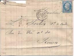 France Old Cover, Letter, Postal History, Postal Markings (9263) - 1862 Napoleon III