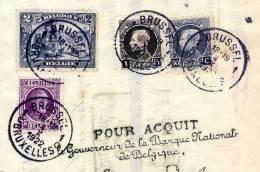 Belgique : 146 + 214 A + 211 C + 197 Sur Document Des Malteries Franco-Belges à Beloeil  /  Bruxelles 1922 - 1915-1920 Albert I