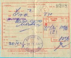 EX YU. Rilway Ticket. Dubrovnik-Sarajevo. 1954. - Railway