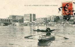 Cpa 78 Bords De Seine A Auteuil Barques Avec Rameur Buveur Ecrite 1908 - Autres Communes