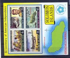 Solomon Islands 1976, Sheet WW II, WM SIDEWAYS, Mibl 5. Cv +11 Euro - Iles Salomon (...-1978)