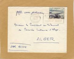 Enveloppe Brief Cover Cameroun Douala To Alger Par Avion + Flamme Greffe Casier Judiciaire Président Du Tribunal - Cameroun (1960-...)