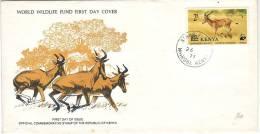 FDC Du Kenya WWF Endangered Species Hunter's Hartebeest Hirola, Nairobi, 1977 - Kenya (1963-...)