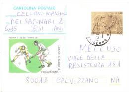 1999 Italia Intero Europei Hockey £800 Jesi Cartolina Postale - Interi Postali