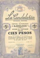 100 ACCION SHARE URUGUAY  LA CANDELARIA SOCIEDAD ANONONIMA SA MJL 1946 - Industrie