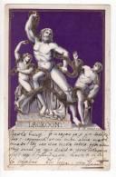 "FINE ARTS SCULPTURES ""LOAKOON"" CARD WITH SIVER SPECKS LITHOGRAPHY OLD POSTCARD 1902. - Sculpturen"