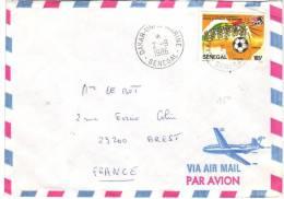 Football Timbre YT 651 (coupe D´Afrique Des Nations) Seul Sur Lettre Du 2/9/1986 De Dakar à Brest à Nantes - Sénégal (1960-...)