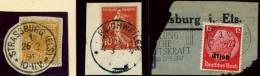 3 Briefstücke Aus Dem Elsaß Bzw. Ober-Elsaß , Dabei Einmal Deutsches Reich Mi.N° 49, Gestempelt Strassburg 26.2.1891 - Alsace-Lorraine