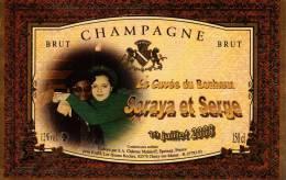 """Etiquette  Champagne    Elaboré Par Château-Malakoff - Cuvée Du Bonheur """"Soraya & Serge"""" - Couples"""