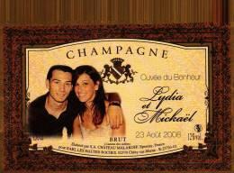 """Etiquette  Champagne    Elaboré Par Château-Malakoff - Cuvée Du Bonheur """"Lydia & Mickaël"""" - Coppie"""