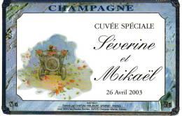 """Etiquette  Champagne    Elaboré Par Château-Malakoff - """"Séverine & Mickaël""""  Cuvée Spéciale  (Tacot) - Coppie"""