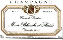 """Etiquette  Champagne    Elaboré Par Château-Malakoff -  Cuvée Du Bonheur  """"Marie-Blanche & Placide"""" - Couples"""