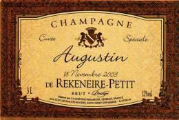 """Etiquette  Champagne    Elaboré Par Château-Malakoff - """"Augustin"""" Champagne De Rekeneire-Petit - - Coppie"""