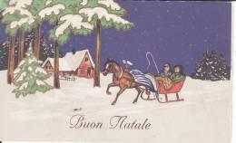 CPA Buon Natale, Cheval, Traîneau, Dorures; Dos Scanné - Noël