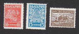 Bulgaria, Scott # 364-366, Mint Hinged, Fruit, Bees And Flowers, Plowing, Issued 1940 - Unused Stamps