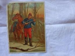 Chromo Et Decoupis-cheval Militaire Fusil 18x25cm-.sapin Hauteur 21cm- - Non Classés