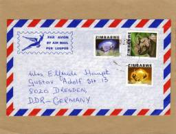 Enveloppe Brief Cover Par Avion By Air Mail Per Lugpos To Dresden Germany - Zimbabwe (1980-...)