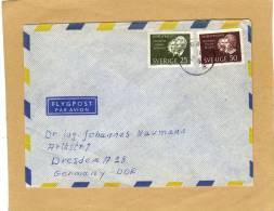 Enveloppe Brief Cover Flygpost Par Avion Timbres Avec 2 Côtés Non Dentelés To Dresden Germany - Suède