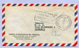 Air Mail Letter PARAGUAY ASUNCION To NÜRNBERG GERMANY  FRANQUEO PAGADO1963 (851) - Paraguay